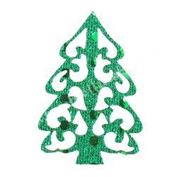 Flitteres dekorgumi fenyő, zöld
