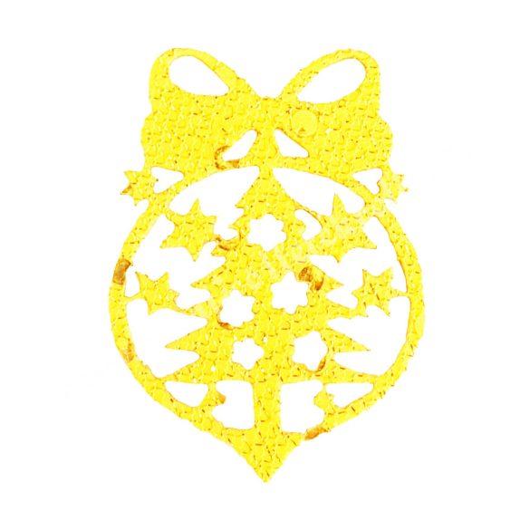 Flitteres dekorgumi fenyő gömbben, arany