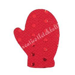 Flitteres dekorgumi kesztyű, piros