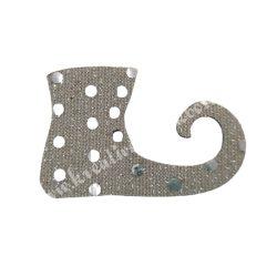 Flitteres dekorgumi manócipő, ezüst, jobbos, 6x4 cm