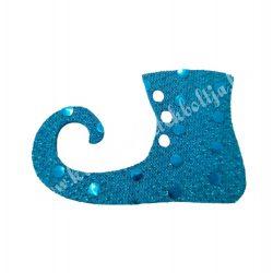 Flitteres dekorgumi manócipő, kék, balos, 6x4 cm