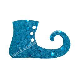 Flitteres dekorgumi manócipő, kék, jobbos, 6x4 cm