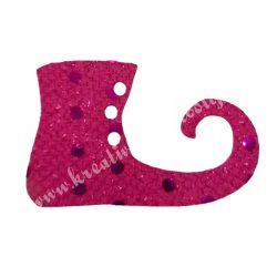 Flitteres dekorgumi manócipő, pink, jobbos, 6x4 cm