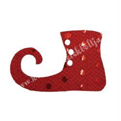 Flitteres dekorgumi manócipő, piros, balos, 6x4 cm