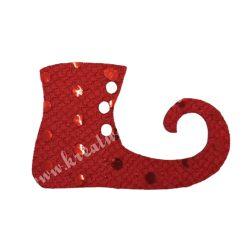 Flitteres dekorgumi manócipő, piros, jobbos, 6x4 cm