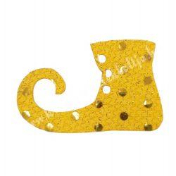 Flitteres dekorgumi manócipő, sárga, balos, 6x4 cm