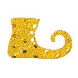Flitteres dekorgumi manócipő, sárga, jobbos