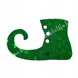 Flitteres dekorgumi manócipő, sötétzöld, balos, 6x4 cm