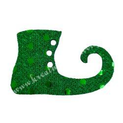 Flitteres dekorgumi manócipő, sötétzöld, jobbos, 6x4 cm
