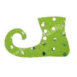 Flitteres dekorgumi manócipő, zöld, balos, 6x4 cm