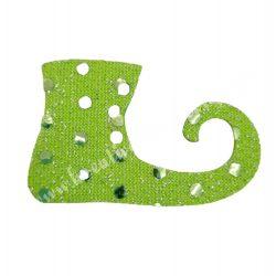 Flitteres dekorgumi manócipő, zöld, jobbos, 6x4 cm