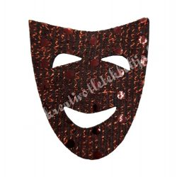 Flitteres dekorgumi maszk, barna