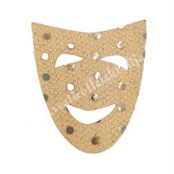 Flitteres dekorgumi maszk, bézs, 5x6 cm