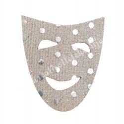 Flitteres dekorgumi maszk, ezüst, 5x6 cm