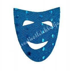 Flitteres dekorgumi álarc, kék, 5x6 cm