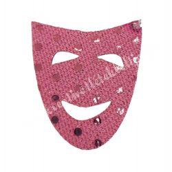 Flitteres dekorgumi maszk, rózsaszín