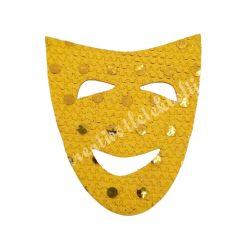 Flitteres dekorgumi álarc, sárga, 5x6 cm