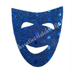 Flitteres dekorgumi maszk, sötétkék, 5x6 cm