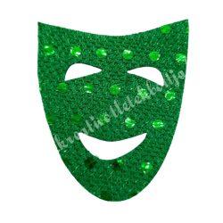 Flitteres dekorgumi maszk, sötétzöld