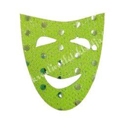 Flitteres dekorgumi maszk, zöld, 5x6 cm