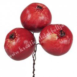 Betűzős gipsz alma, vintage piros, 3 db/csokor
