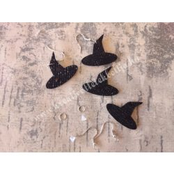 Fülbevaló egységcsomag, flitteres dekorgumi boszorkánykalap