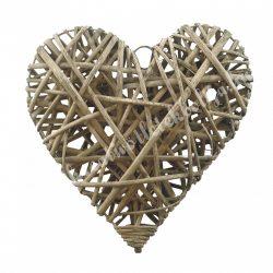 Vessző szív, barna, 15 cm