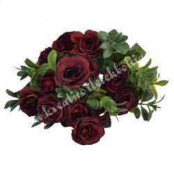 Rózsa csokor, bordó, 12 fejes, 26 cm
