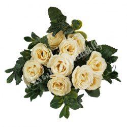 Rózsa csokor, krém, 12 fejes, 26 cm