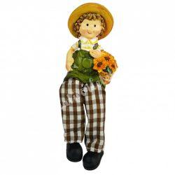 Lógó lábú napraforgó gyerek virágkosárral, 5x13 cm