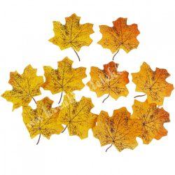 Selyem juharlevél csomag, sárga árnyalatok, pöttyös, 9,5x10 cm