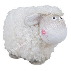 Bolyhos kerámia bárány, fehér, 7,5x6,5 cm