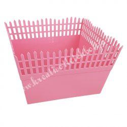 Műanyag láda kerítés, rózsaszín, 18x11  cm