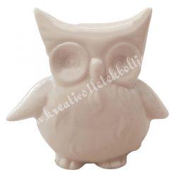 Porcelán bagoly, nyitott szájú, fehér, 6,5x6 cm