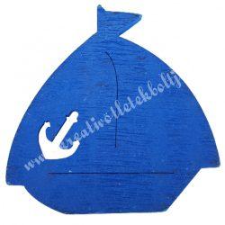 Fadekor, vitorlás hajó horgonnyal, kék, 4,5x5 cm
