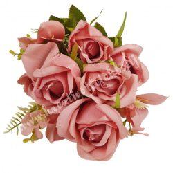Antik rózsa csokor, korall, kb. 50 cm