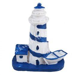 Világítótorony házikóval, csónakkal, 6,5x7,5 cm