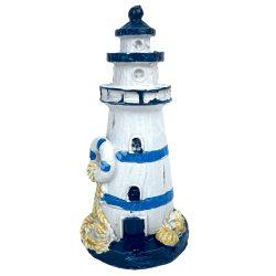 Világítótorony, kék mentőövvel, 4x9 cm