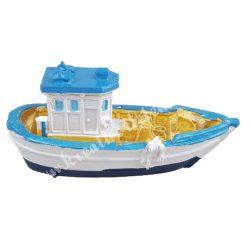 Halászhajó, sárga fedélzettel, 7,5x3,3 cm