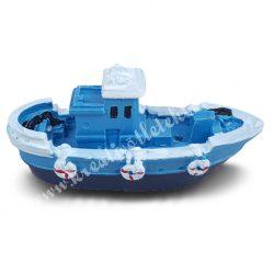 Halászhajó, kék fedélzettel, 7,5x3,3 cm
