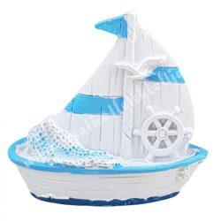 Vitorlás hajó, hajókormánnyal, 6,5x6 cm