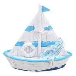 Vitorlás hajó, mentőövvel, 6,5x6 cm