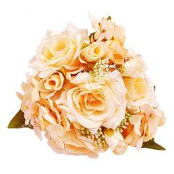 Rózsa-hortenzia csokor, krém, kb. 29 cm, 7 szál/csokor