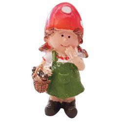 Polyresin kislány, piros gombakalapban, 3,5x7 cm