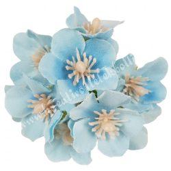 Dekor virágfej, világoskék, kb. 6 cm