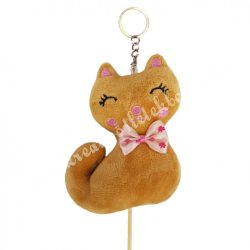 Betűzős plüss ülő cica, barna, 10x11 cm