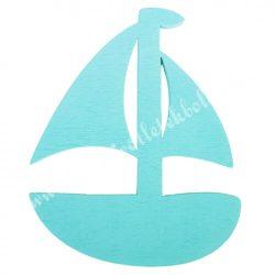 Fadekor, vitorlás hajó, türkiz, 4x5 cm