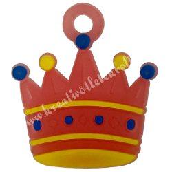 Gumigyűrű dísz, 20x23x2 mm, korona, 1 darab