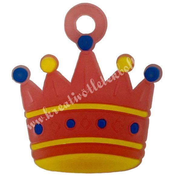 Gumigyűrű dísz, 20x23x2 mm, korona