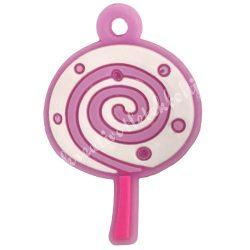 Gumigyűrű dísz, 27x18x2 mm, nyalóka, 1 darab